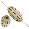 Horn Beads Oval Carved 24x12mm Natural Work On Bone
